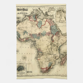 Viintage 1874 Map of Africa  Antique African Print Kitchen Towel