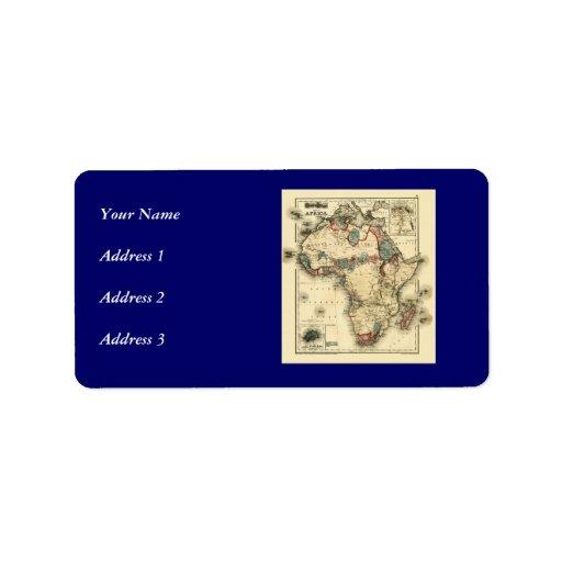 Viintage 1874 Map of Africa  Antique African Print Custom Address Label