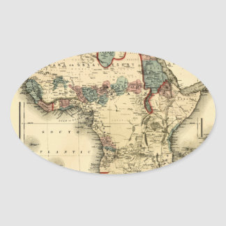 Viintage 1874 Map of Africa  Antique African Print Oval Sticker