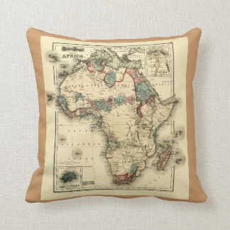 Viintage 1874 Map of Africa  Antique African Print Pillows