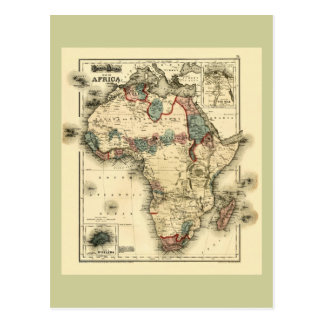 Viintage 1874 Map of Africa  Antique African Print Postcard