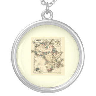 Viintage 1874 Map of Africa  Antique African Print Silver Plated Necklace