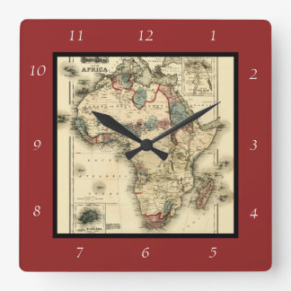 Viintage 1874 Map of Africa  Antique African Print Square Wall Clock