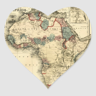 Viintage 1874 Map of Africa Antique African Print Heart Sticker