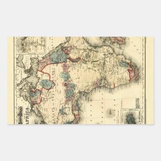 Viintage 1874 Map of Africa  Antique African Print Rectangular Sticker