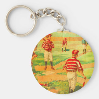 Viintage Childs Toys Baseball Illustrations Keychain