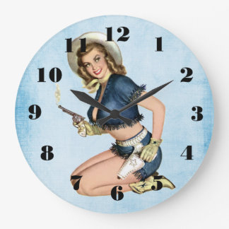 Viintage Cowgirl Pinup Girl Wall Clock