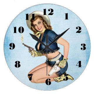 Viintage Cowgirl Pinup Girl Wall Clock