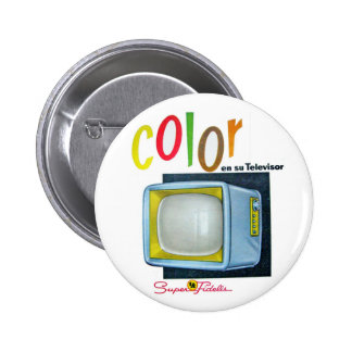 Viintage Kitsch Color TV 60's Ad Buttons