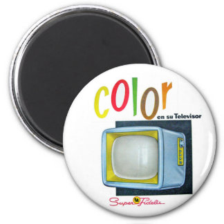 Viintage Kitsch Color TV 60's Ad 2 Inch Round Magnet