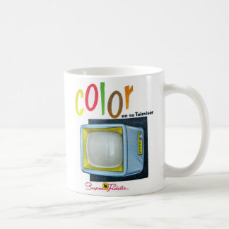 Viintage Kitsch Color TV 60's Ad Classic White Coffee Mug