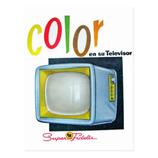 Viintage Kitsch Color TV 60's Ad Postcard