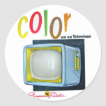 Viintage Kitsch Color TV 60's Ad Round Stickers