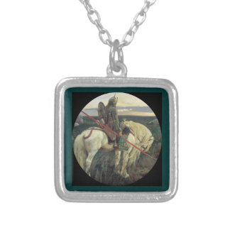 Viking at the Crossroad Square Pendant Necklace