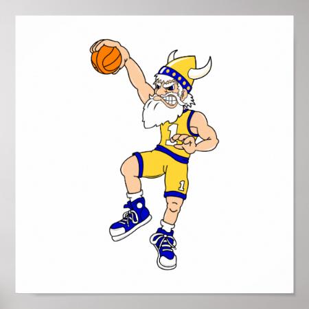 Viking basketball slam poster
