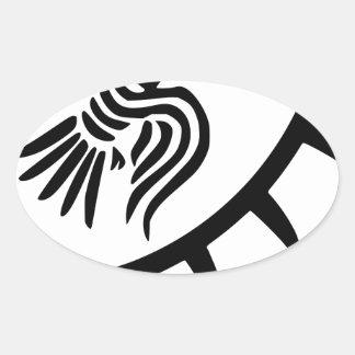 Viking Black Raven Banner Oval Sticker