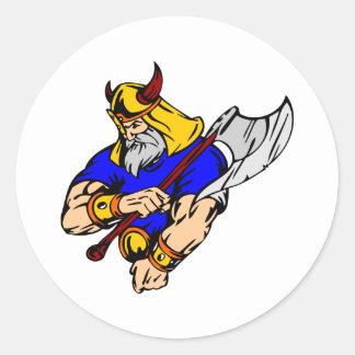 Viking blanco que ruega pegatina redonda