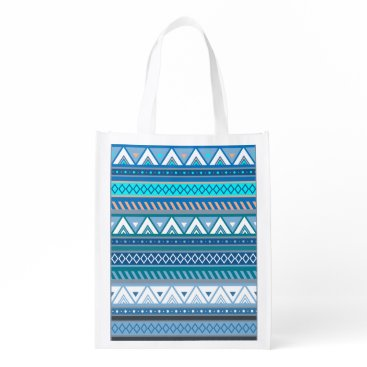 Aztec Themed Viking Blue Triangle Pattern with Diamonds Grocery Bag
