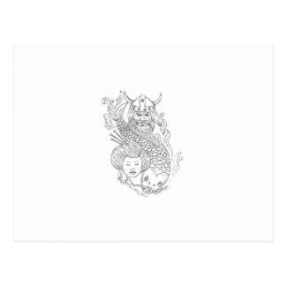 Viking Carp Geisha Head Black and White Drawing Postcard
