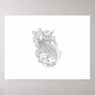Viking Carp Geisha Head Black and White Drawing Poster