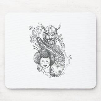 Viking Carp Geisha Head Tattoo Mouse Pad
