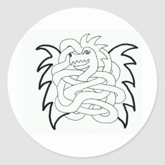 Viking dragon knot round stickers