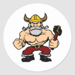 Viking enojado blanco etiquetas redondas