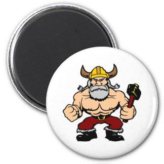 Viking enojado blanco imán