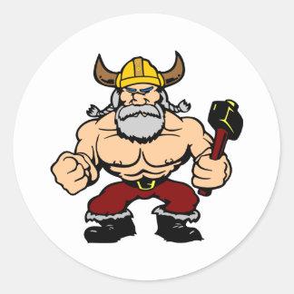 Viking enojado blanco pegatina redonda