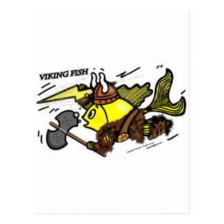 Viking Fish funny cute sparky comics medieval Postcard