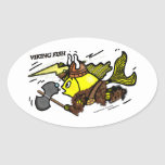 Viking Fish funny cute sparky comics medieval Oval Stickers