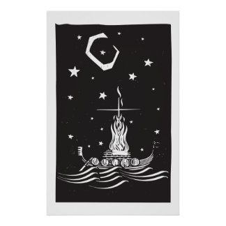 Viking Funeral at Night Poster