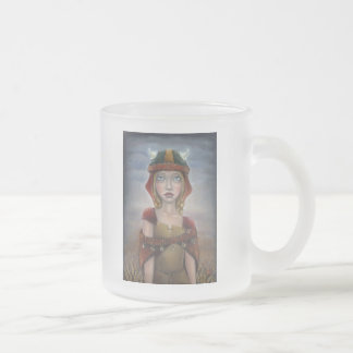 Viking Girl Frosted Glass Coffee Mug