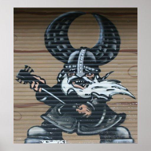 Viking guitarist Graffiti, Berlin, Germany Print