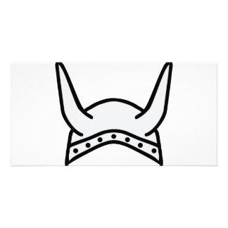 viking helmet icon photo card