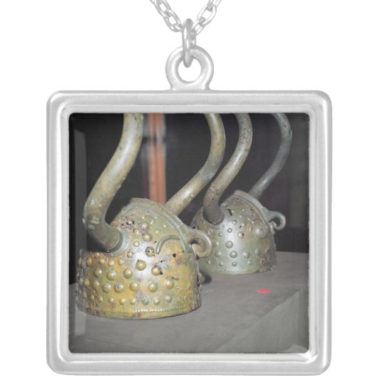 Viking helmet silver plated necklace