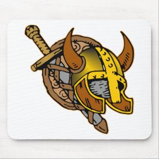 Viking Helmet, Sword & Shield Tattoo Mouse Pad