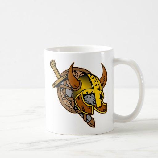 Viking Helmet, Sword & Shield Tattoo Classic White Coffee Mug