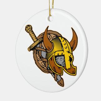 Viking Helmet, Sword & Shield Tattoo Double-Sided Ceramic Round Christmas Ornament