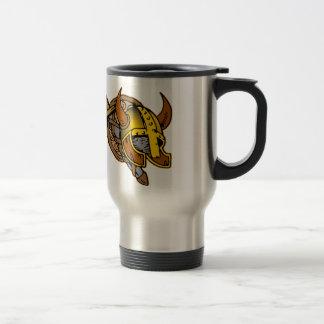 Viking Helmet, Sword & Shield Tattoo Travel Mug