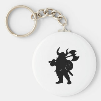 Viking in Silhouette, with axe over shoulder Keychain