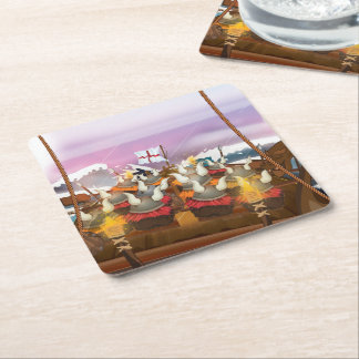 Viking Invasion Fleet Square Paper Coaster