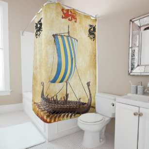 Viking Longboat V 6 Shower Curtain