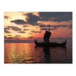 Viking Longship at Sunset Postcard