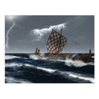 Viking Longship in an Atlantic Storm Postcard