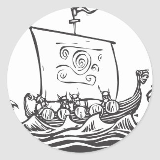 Viking LongShip Etiquetas Redondas