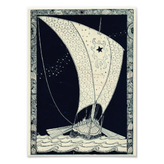 Viking Longship Sailing at Night Photo Print