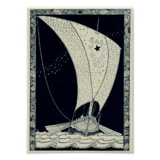 Viking Longship Sailing at Night Poster