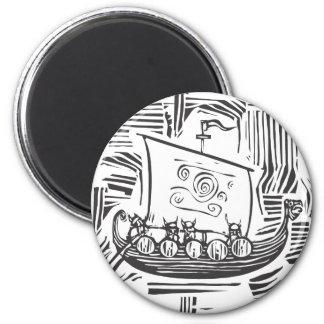 Viking LongShip Woodcut Magnet