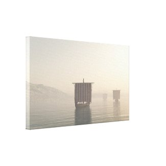 Viking Longships in the Mist Canvas Print
